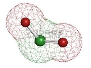25356694-chloordioxide-clo2-molecuul-gebruikt-in-het-bleken-van-pulp-en-voor-de-desinfectie-van-drinkwater-at