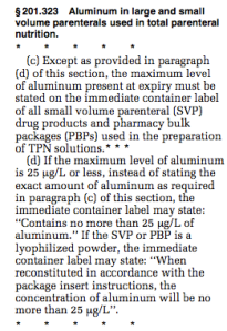§ 201.323 Aluminum in large and small volume parenterals used in total parenteral nutrition.